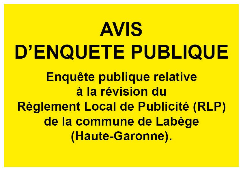 Avis d'enquête publique : révision du Règlement Local de Publicité (RLP)