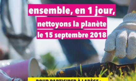 Le 15 septembre : nettoyons la planète en 1 jour