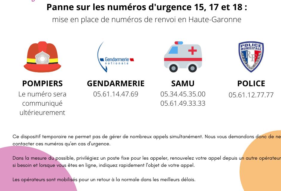 Panne sur les numéros d'urgence